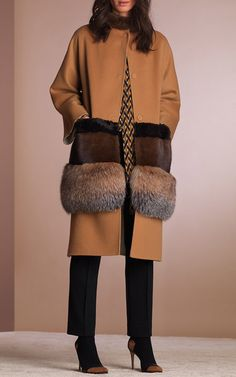 Bicolor Double Wool Coat with Fur Trim by AGNONA for Preorder on Moda Operandi