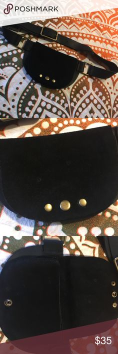 Free People black suede and leather fanny pack Awesome little piece! Soft black suede and leather fanny pack hip belt from Free People, with brass hardware. This is the perfect size for some cash and a few cards, a small phone (pouch is just slightly smaller than an iPhone 6s), or a lipstick and keys! NWOT, never used. There are 2 tiny markings on the suede front, the belt came this way and I don't think it detracts from the piece but I did show it in the photos just to be safe. This would…