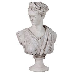 Weathered classical bust statue. Crafted of cement.  Product: BustConstruction Material: CementColor: