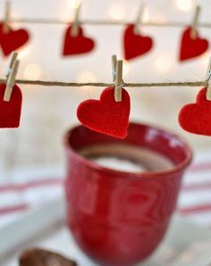 love coffee...yes I do! But I pinned this for the cutout heart with mini clothespin idea!
