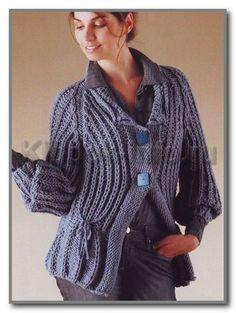 Уютный жакет спицами с рукавами реглан и фантазийным узором - Жакеты,полуверы, свитера