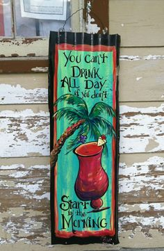 Tropical+Drink+and+PALM+Tree+painted+Metal++BAR+by+DancingBrushes,+$150.00