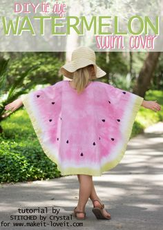 Sew a DIY Tie Dye Watermelon Cover Up, a simple sew and fabric dying project that is great for the beach or pool! Make one for you or your kid! | via www.makeit-loveit.com