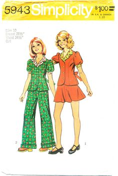 Simplicity 5943, ©1973, Girls' two-piece short dress and pants suit, size 10, breast 28.5 by MySewingChest on Etsy
