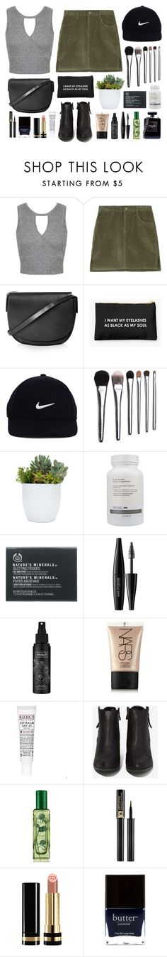 """""""I want my eyelashes as black as my soul"""" by sophiehackett ❤ liked on Polyvore featuring Miss Selfridge, Topshop, NIKE, Bobbi Brown Cosmetics, Murad, The Body Shop, MAKE UP FOR EVER, Kat Von D, NARS Cosmetics and Kiehl's"""