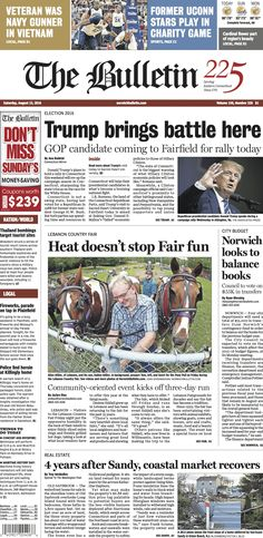 Saturday, August 13, 2016 - Subscribe to The Bulletin today: http://www.norwichbulletin.com #ctnews #newlondoncounty #windhamcounty