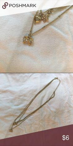 🎀💗🌸CUTE LAYERED NECKLACE🌸💗🎀 cute three layered necklace with a ribbon, heart, and flower. never worn. super light and goes with everything! tags: forever 21, h&m, hot topic Forever 21 Jewelry Necklaces