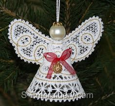 Lace Angel Pattern | This Christmas angel machine embroidery design in Battenberg lace ...