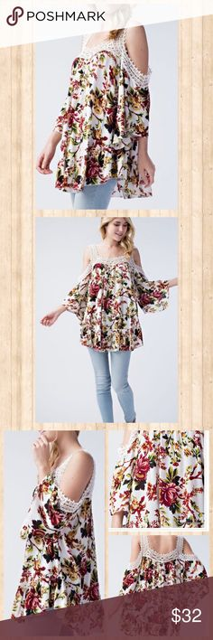 Floral cold shoulder top Floral cold shoulder top features crochet details and ruffled hem. Tops