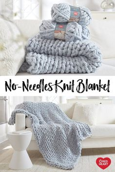 No-Needles Knit Blanket free craft pattern and video tutorial in Irresistible ya. No-Needles Knit Blanket free craft pattern and video tutorial in Irresistible yarn. This cozy blanket is perfect for beg. Chunky Yarn Blanket, Hand Knit Blanket, Chunky Knit Throw, Finger Knitting Blankets, Arm Knitting, Knitting Patterns, Scarf Patterns, Knitting Machine, Finger Knitting Projects