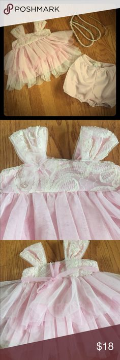 """🎉host pick🎉 Isobella & Chloe Dress Sz 6 Months EUC isobella & Chloe """"Flower Blossom"""" pink frilly dress with ivory lace detail. And matching bloomers. Worn once for pictures. Size 6 months but runs small in my opinion. Retails for $40 🎉HP dress to impress 11/22🎉 Isobella & Chloe Dresses Formal"""