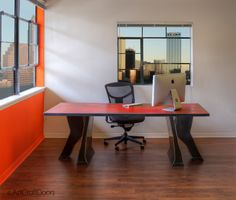 Modern Industrial Steel Table/Desk in Red by ArtcraftDoors on Etsy https://www.etsy.com/listing/276863214/modern-industrial-steel-tabledesk-in-red