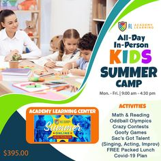 Summer Camp for Kids!!! All-Day, Disguised Learning + Cool Classes and Oddball Olympics w/ Free Lunch.  - In-Person, All-Day Camps (Mon. – Fri.) - 9:00 am – 4:30 pm - Disguised Learning (Math & Reading) - Cool Classes (Oddball Olympics, Crazy Contests, Goofy Games) - SGT (Sac's Got Talent: Singing, Acting, Improv) - Free Lunch/Games in Park - Covid-19 Plan