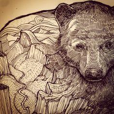 Combo of bear + interior mountain & river, Yosemite Valley   ////@meridian_line #yosemite #staydrawn