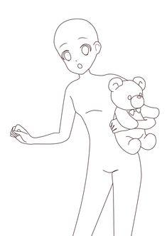 Chibi Girl Drawings, Anime Drawings Sketches, Cool Art Drawings, Anime Sketch, Drawing Anime Bodies, Anime Drawing Styles, Anime Base, Poses References, Manga Poses