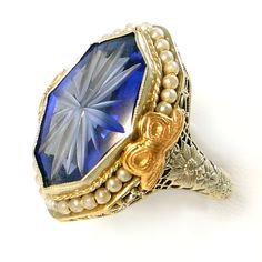I want anything Belais!   Antique BELAIS Art Deco  Sapphire Pearl Filigree Ring