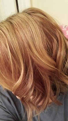 Red lowlights and blonde highlights