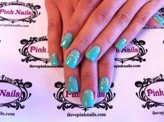 Tiffany Blue and Diamond Rock Star Fade Nails