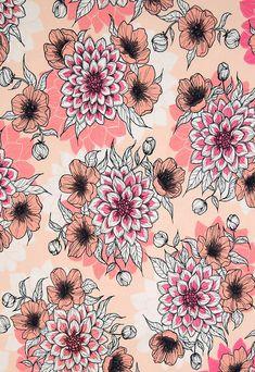 "Finnish design jersey fabric ""Dahlia Dawn"" by Nora Bisi  - Mieli Design.  Produced by Kangaskapina.fi. Dahlia, Fabric Design, Dandelion, Artist, Flowers, Plants, Dandelions, Florals, Dahlias"