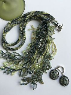 Grey & Green Fringed Necklace-Twisted Herringbone Rope- Beadwoven Y Necklace Set- Fringed Lariat- Seed Bead Jewelry- Gift for Her Seed Bead Jewelry, Seed Beads, Beaded Jewelry, Pearl Necklace Set, Mother Of Pearl Necklace, Jewelry Gifts, Jewelry Ideas, Diy Jewelry, Jewelry Design