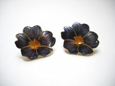 Cluster Earrings, Beaded Earrings, Stud Earrings, Vintage Wear, Vintage Items, Orange Center, Fashion Now, Purple Gold, Pansies