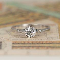 Art Deco Old Cut Diamond Engagement Ring, Vintage 0.33 Carat Solitaire with Diamond Shoulders, 18ct White Gold & Platinum