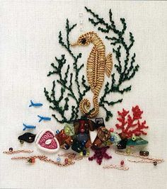Seahorse and Reef (Brazilian embroidery)