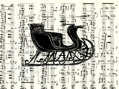 """""""Oh What Fun"""" hand-printed lino-cut on vintage music sheet. A beautiful hand-printed lino-cut of an antique Sleigh on a vintage music sheet. Signed and ready for matting and framing. 9 x 12"""" in size. The perfect Christmas gift!."""