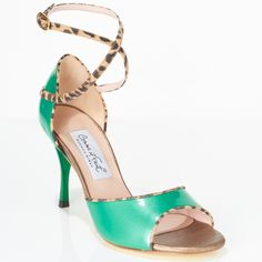 www.felinashoes.com Argentine Tango Shoes from Comme il Faut shoes. Open toe, wrap around ankle strap, enclosed heel cage. Green patent leather, cheetah printed leather, green stiletto heels, gold leather sole. Sizes 4 (34), Size 5 (35), Size 6 (36), Size 7 (37), Size 8 (38), Size 9 (39), Size 10 (40), Size 11 (41)