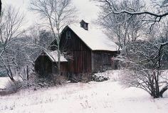 Lovely barn in Stafford Springs Connecticut. Sadly it has since collapsed due to the early snowstorm in Barn Pictures, Winter Pictures, Cool Pictures, Cool Photos, Beautiful Pictures, Watercolor Landscape, Landscape Paintings, Pole Barn House Plans, Weather Underground