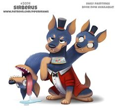 Daily Paint Sirberus by Piper Thibodeau Cute Fantasy Creatures, Mythical Creatures Art, Cute Creatures, Cute Food Drawings, Cute Animal Drawings Kawaii, Animal Puns, Cute Monsters, Cute Doodles, Cute Funny Animals