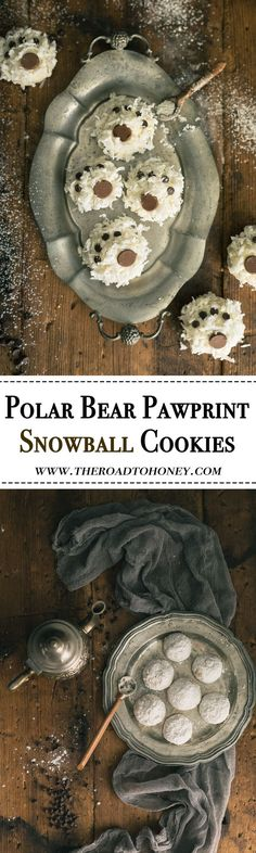 Polar Bear Paw Snowball Cookies - these light melt-in-your mouth nutty, buttery cookies are dipped in a decadent white chocolate & coated with a sprinkling of coconut & chocolate chips for a fun, playful look. They're not only perfect for the holidays but