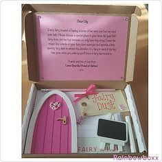 Pink-personalised-wooden-fairy-door-package-with-little-goodies-Hand-painted