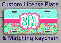 Custom Monogrammed Personalized License Plate + Matching Key Chain. Lily Pulitzer inspired Blue Lattice Vanity Customized Car Tag #1057