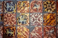The Tudor / Medieval / Jacobean / Queen Anne Dollhouse Project: Miniature medieval tile floor. The dolls house versions are made with sculpey and a gelly roll pen. Ceramic Floor Tiles, Mosaic Tiles, Tile Floor, Art Tiles, Antique Tiles, Vintage Tile, Exeter Cathedral, Encaustic Tile, Floor Cloth