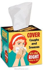 Please buy this for JoJo. Please.     kthx. sincerely – the rest of the account team.     * Box Contains 40 Plain white tissues  * Measures: 4 x 4 inches  * Reads: Cover Coughs and Sneezes Tissues