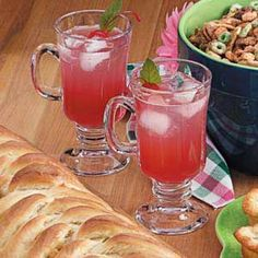 """Rhubarb Cooler Recipe -""""I've shared this recipe with many people who tell me it's one of the best beverages they've ever had,"""" affirms Hazel McMullin of Amherst, Nova Scotia. """"It's an attractive and fizzy refresher. Drink Recipes Nonalcoholic, Non Alcoholic Drinks, Wine Drinks, Cocktails, Rhubarb Desserts, Rhubarb Recipes, Potluck Recipes, Home Recipes, Water"""