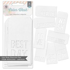 Color Wash Watercolor Tags $2.99