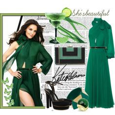 A fashion look from September 2011 featuring long-sleeve maxi dresses, high heel shoes and evening handbags. Browse and shop related looks. Casual Dresses, Fashion Dresses, Summer Dresses, Formal Dresses, Emerald Dresses, Gucci Dress, Katie Holmes, Stunning Dresses, New York Fashion