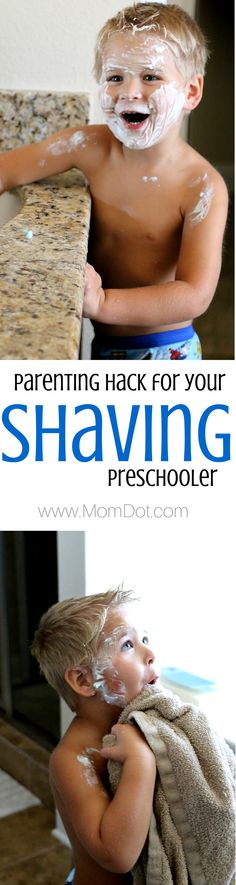 Parenting Hack: how to let your son shave safely with this common household bathroom item, he is going to play pretend that he is daddy, so why not encourage his personal care while making sure he is not going to get cut. Here is what we did