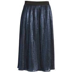 Women's Boss Miplisa Metallic Pleated Midi Skirt ($335) ❤ liked on Polyvore featuring skirts, navy, navy blue midi skirts, navy pleated skirt, metallic midi skirt, navy skirt and navy blue pleated skirt
