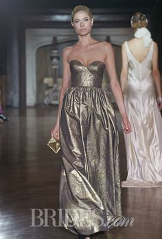"""Beauville"" strapless gold luminescent taffeta A-line wedding dress with a sculpted sweetheart bodice, Johanna Johnson  See wedding dresses from Johanna Johnson's most recent bridal runway show."