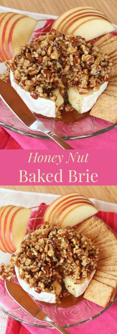 Honey nut baked Brie cheese is an elegant, gluten free appetizer recipe. Creamy Brie cheese is topped with honey sweetened walnuts and pecan. Brie Appetizer, Elegant Appetizers, Appetizer Recipes, Avacado Appetizers, Prociutto Appetizers, Mexican Appetizers, Brunch Recipes, Fruit Appetizers, Delicious Appetizers