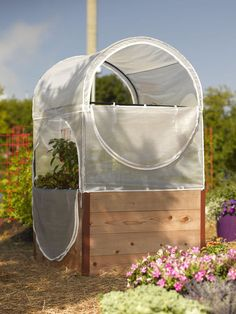This portable greenhouse features a powder-coated steel frame and two-part cover that's tall enough for big crops like tomatoes. Pvc Greenhouse, Portable Greenhouse, Greenhouse Gardening, Container Gardening, Tall Planters, Outdoor Planters, Garden Planters, Serre Pvc, Flowering Pear Tree