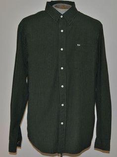 Nautica Shirt XL Mens Long Sleeve Green Plaids & Checks Point (Straight) Cotton #Nautica