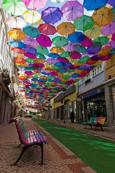 Umbrella street in Agueda, Portugal. This has the benefit of shading in the hot summer climate. Easy win/quick to construct and dismantle if necessary. Beautiful Streets, World's Most Beautiful, Beautiful World, Beautiful Things, Places Around The World, Oh The Places You'll Go, Cool Places To Visit, Rosa Strand, Umbrella Street