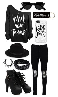 """What's Your Damage?"" by laineyroxs on Polyvore featuring Boohoo, Various Projects, Casetify, Saks Fifth Avenue and Swarovski"
