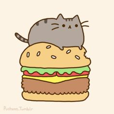 pusheen has a hamburger