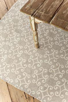 Must have this rug!!! It's just as wonderful to see as it looks online #DashAndAlbert Scroll Platinum Wool Micro Hooked Rug   8x10 $976