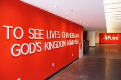 the letters are a great way to give a wall interest & meaning Church Lobby, Church Foyer, Church Office, Church Interior Design, Church Stage Design, Church Welcome Center, Church Fellowship, Youth Rooms, Church Signs